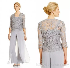 2020 Modest 3 Pieces Mãe da noiva Pant ternos prata Custom Made Spaghetti Top calças compridas Jacket Lace Sheer com mangas
