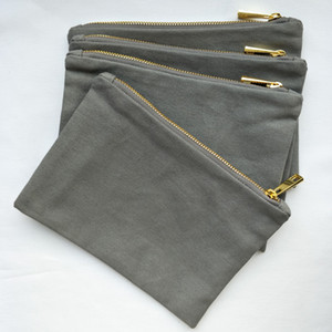 Cool Gray Canvas Thick Free Bag Cotton Lining And With Gold Zip Makeup 6*9in Cosmetic Durable 12oz Ship Any C Bwewb
