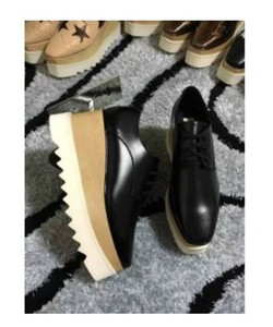 2017 yeni toptan Elyse Stella Mccartney Scarpe platformu kadın Ayakkabı Siyah Hakiki Deri Beyaz Sole ile