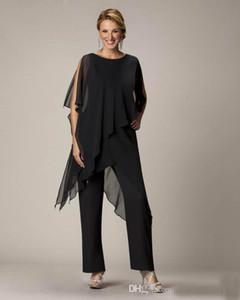 2019 Negro traje de pantalones de la madre por encargo de gasa de las señoras de las mujeres del banquete de boda vestidos de noche madre de la novia novio