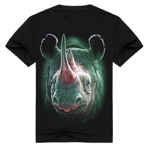2017 Moda streetwear hombres 3D impresión Rhinoceros camiseta manga corta metal rock animal ropa camiseta negro o cuello Tops camiseta BMTX20 F