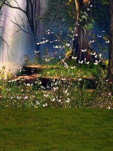 Floresta cênica primavera fundo fotográfico borboletas flores amarelas árvores Prado verde cênica fantasia ao ar livre fundo de conto de fadas