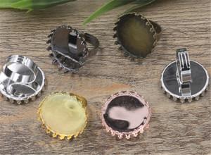 10pcs 6 cores rodada 25mm Cabochon Anel DIY Vintage Base de resultados da jóia Componentes Blanks anel ajustável