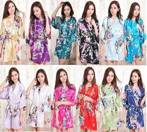 Vendita calda seta raso da sposa sposa damigella d'abito breve kimono notte accappatoio floreale accappatoio vestaglia femme moda vestaglia per le donne