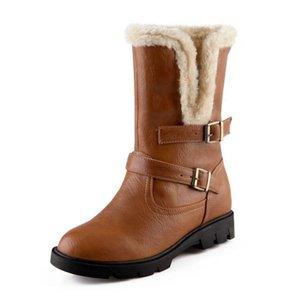 Taglia 34-39 Stivali tacco medio al polpaccio da donna Due metodi Inverno caldo neve Botas mezza corta Gladiatore Calzature Calzature