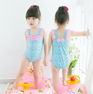 2017 nuovi arrivi vendita calda ragazza bambini bikini estate ragazza Bella rosa blu rosa piccolo fiore printting costume da bagno gonna pezzo unico nave libera