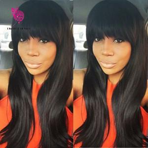 100% Virgin Brazilian Полное кружевное парики человеческих волос с челками беззубрьский прозрачный передний парик 150 плотности наполненные шнурками для черной женщины отбеленные узлы