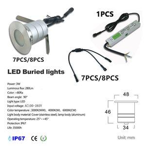 7-8pcs / set LED-Fußboden Decking-Lichter 12V 24V 3W Led U-Bahn-Beleuchtung IP67 Wasserdichtes Buried Lampen Spot-encastrable mit IP67-Treiber