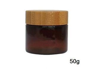 Livraison gratuite 10pcs contenant 50 g hulotte d'étain pot de crème PET, couleur brun 50ml pot d'emballage cosmétiques PET avec couvercle en bambou