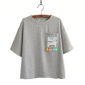 Wholesale- tassel notes pocket striped cotton top o-neck short sleeve T-Shirt mori girl 2016 summer women casual tee 0660