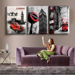 Wall Art Новый 2016 Бескаркасных Картины Лондон Сити Арт Современная Картина Три Комбинации Главная Декоративные 3 Панели Печать На Холсте