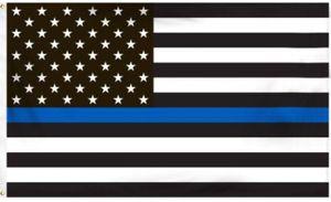 Thin Blue Line Police Bandera americana 3 por 5 pies Flag con ojales 4 tipos DHL Free Blue Line USA Flags 3 por 5 pies Red, Blanco, Negro