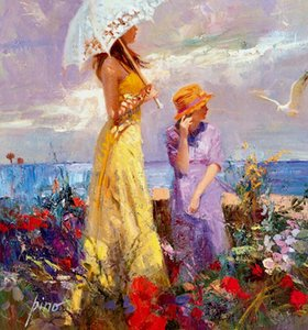 Pino Framed Daeni donna sulla spiaggia Ritratto pitture di alta qualità dipinta a mano Famosa Impressionismo olio di arte su tela di canapa Multi formati
