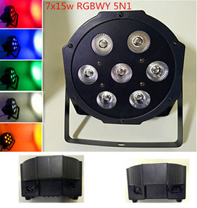 NUOVO LED PAR 7x15W RGBWY 5N1 Colore Mishing Stage Light LED PAR DMX Canali9 Light DJ KTV Wedding Spedizione gratuita