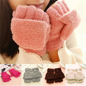 Wholesale- 6 Colors Fashion Half Finger Coral Fleece Gloves Winter Warm Soft Gloves Women's Clothing Accessories