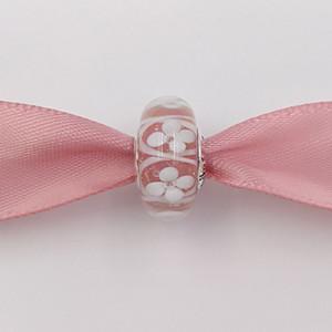 Çiçekler Charms Of Otantik 925 Gümüş Boncuk Pembe Saha Avrupa Pandora Stil Takı Bilezikler Kolye Murano 791.665 uyar