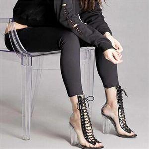Sandales De Mode Femmes Sexy PVC Transparent Peep Toe À Lacets En Bloc Clair Talons Chunky Cheville Bootie Taille 35 À 40