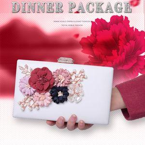 Fashion Lady Elegante Perla Fiore Borse da sera 3D stampa frizione frizione borsa banchetto cristallo floreale borse spalla catena Messenger - GH9