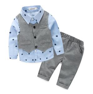 새로운 Apring 가을 유아 아기 소년 옷 세트 긴 소매는 셔츠 + 조끼 + 바지 3PCS 어린이 세트 어린이 의상 한 벌 W023 탑