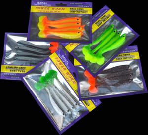 Venta caliente señuelo suave cebo 4 piezas / bolsa de pesca señuelos artificiales hechos a mano 11 cm / 6g doble color T cola de arranque