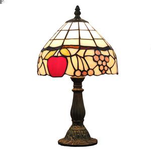 티파니 스타일 과일 모자이크 테이블 램프 침실 스테인드 글라스 데스크 빛