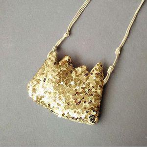 Cruzado Eco-Friendly partido de los niños Cool Bag plata de las lentejuelas de oro de la franja Corona niños bolsa de mensajero del arco bolsas Pequeño bolso de la moneda monedero glitte