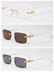 2020 New Fashion Bamboo Wood Rimless Sunglasses Men White Buffalo Horn Glasses Women Mens Sports Sunglasses With Box Case Lunettes