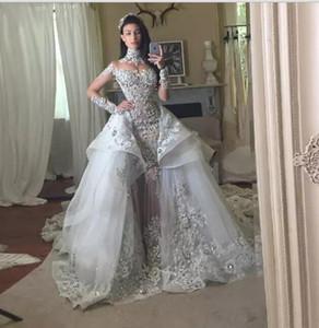 Fantacy luxo cristal vestidos de casamento com destacável sobre-saia de gola alta mangas compridas apliques frisados 2018 vestidos de casamento vestido de noiva
