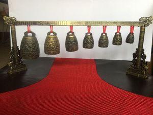Meditation Gong avec 7 Fleuri Bell avec Dragon Conception Chinois Strumento musicale in metallo artistico