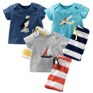 2017 new kids suits 2pcs tshirt+pants cute printed tshirt and stripe short pants kids cotton suits