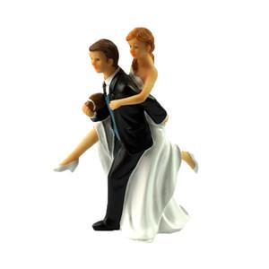 Topper de gâteau de mariage avec les mariés Couple Figurine Football Love Gâteau Décoration pour la fête d'anniversaire de mariage