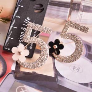 Arapça dijital rakamları 5 broşlar iğneler moda lüks tam elmas çiçek broş pins marka tasarımcısı broşlar