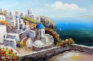Çerçeveli Yunan Adası Santorini Kilisesi Çiçekler Okyanus Seascape, El boyaması Seascape Sanat yağlı boya Tuval, Çoklu Ücretsiz Kargo J019 boyutları
