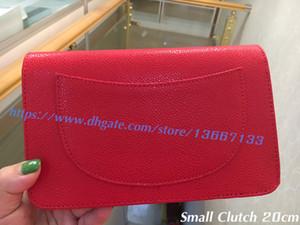 En Kaliteli Kırmızı kadın Hakiki Havyar Deri Woc Debriyaj 33817 Küçük Flap Zincir Çanta 20 CM Lady Siyah Crossbody Mesenger Çanta