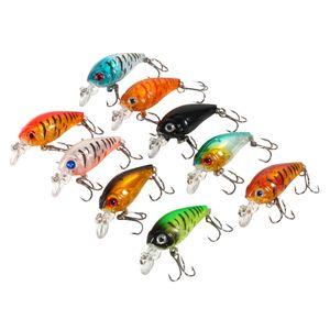 9pcs Set di plastica di esche da pesca Bass China CrankBait Hard Crank Bait Deep Sea Fishing Trout Tackle Accessori 4.5cm / 4g Nuovo