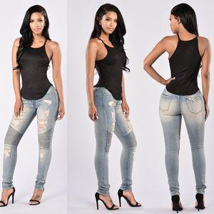 Bayanlar Stretch İnce Denim Düz Biker Skinny Jeans Boyut S-2XL Ripped Seksi Skinny Jeans Bayan Yüksek Waisted Slim Fit Kot Pantolon Ripped