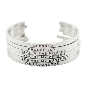 Nuovo arrivo! Braccialetto del braccialetto del braccialetto del braccialetto dell'ispirazione positivo in acciaio inossidabile 316L in acciaio inossidabile per gli uomini delle donne