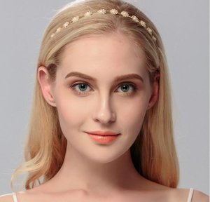 Elegant Wedding Bridal Crystal Rhinestones Gold Hair Band Headband Tiara Headdress Bridal Hair Accessories Bridal Head Pieces