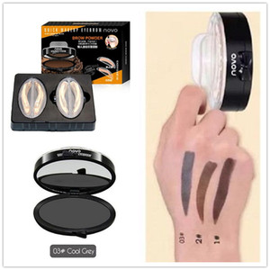 DHL NOVO Brand ojos del maquillaje de cejas Sello Sello polvo de la ceja impermeable gris marrón Cejas polvo con herramientas de cejas cepillo Plantillas
