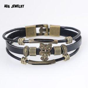 Wholesale-Cool Punk Hologram Men's Owl Bracelet with Charms Vintage Bronze Genuine Leather Male Bracelet for Women Men Wristband Jewelry