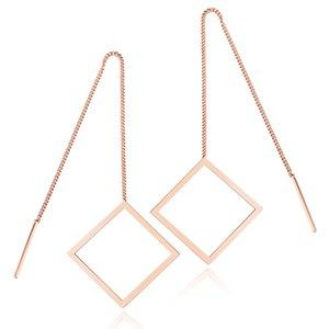 Paslanmaz Çelik Basit Geometrik Threader Küpe Elmas Şekilli Zincir Küpe