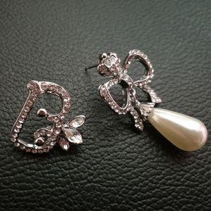 Fashion Brand crystal Tiaras stud earrings for women Rhinestone bowknot earring brincos pearl earring pendant asymmetry wedding jewelry