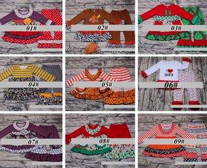 Рождество Holloween спасибо давая день модули Осень Зима девушки бутик наряды кружева рябить топ набор хлопок брюки Оптовая Детская одежда