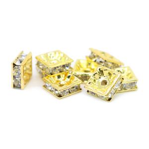 100 unids Calidad Crystal Rhinestone chapado en oro Charm Square Spacer Beads para la joyería que hace el arte DIY, IA03-02