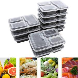 Boîte de rangement en plein air de vaisselle de boîte à lunch en plastique de boîte de stockage de préparation de repas jetable de Micro-ondable de boîte aux lettres avec couvercle