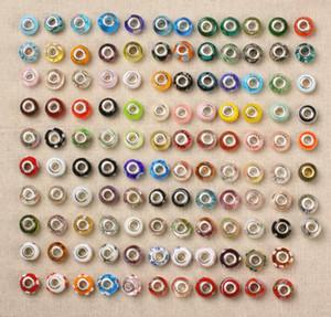 Vente en gros 50pcs / lot Big Hole Perles pour bracelet européen Lamwork Glaze coloré Glaze DIY Charms Fit Bracelets perles Mélanger