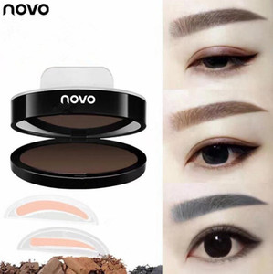 NOVO Polvo de cejas Maquillaje Ojos Cejas Paleta de sellos Delicado Sombra de ojos Cejas con pincel Herramienta 5162 DHL 12Set