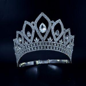 Coronas de diamantes de imitación Tiaras Lager ajustable Miss Queen Queen Wedding Princess Party Prom Night Clup Show Tocado Hairwear 00022m