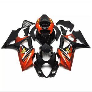 3 cadeaux New Suzuki GSXR1000 GSXR1000 07 08 2007 2008 ABS plastique moto K7 Carénage Kit Carrosserie Cowling Noir Orange
