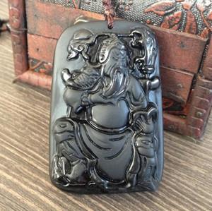 Pierre naturelle en obsidienne Collier pendentif en guanyu sculpté à la main